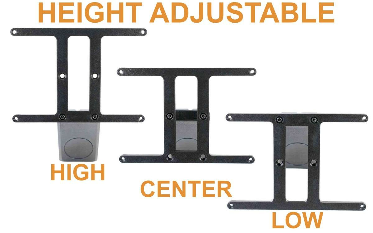You can mount you plate in the standard high, center, or you can flip it over to mount it low